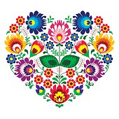 Polish folk art art heart embroidery with flowers