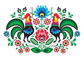 Polish folk art floral embroidery with cocks - traditional folk pattern