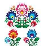 Polish folk art floral embroidery with roosters - traditional folk pattern