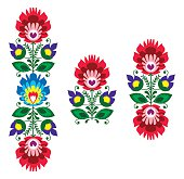Polish folk art - floral traditional polish pattern
