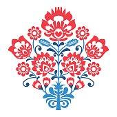 Polish Folk art pattern with flowers