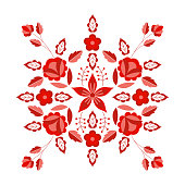 Polish folk pattern vector. Floral ethnic ornament. Slavic eastern european print. Red flower design for rustic wedding card, gypsy pillow case, bohemian interior textile, boho fashion embroidery.