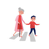 Polite boy helps elderly woman to cross the road. Cheerful school kid and old lady. Child with good manners. Flat vector design