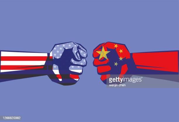 politische und wirtschaftliche konfrontation zwischen china und den vereinigten staaten - china stock-grafiken, -clipart, -cartoons und -symbole