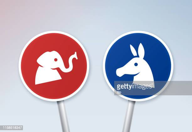 political debate signs - political party stock illustrations