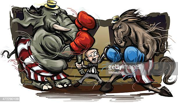 political election grudge match - political rally stock illustrations, clip art, cartoons, & icons
