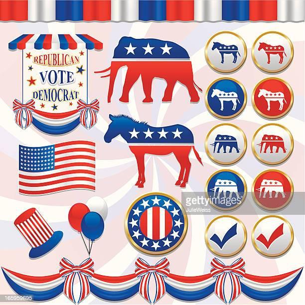 political element set - us republican party stock illustrations, clip art, cartoons, & icons