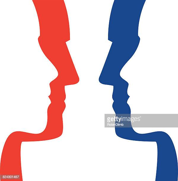 political faceoff - rivalry stock illustrations