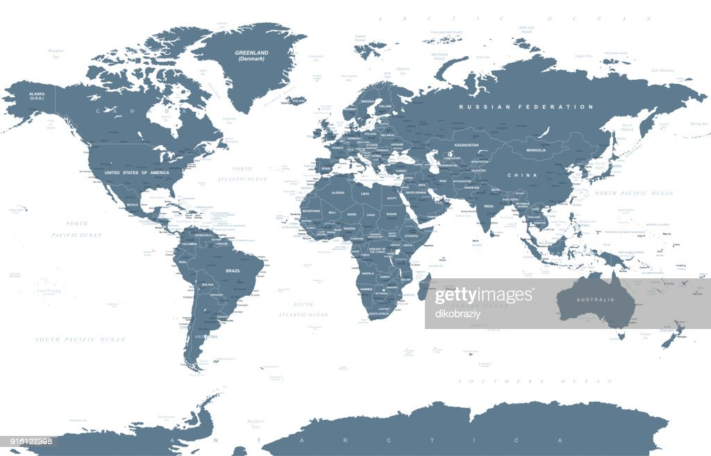 Political Grayscale World Map Vector