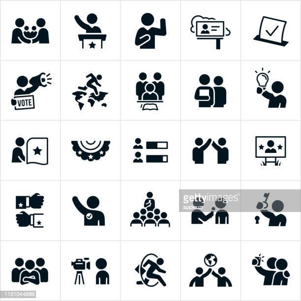 politische ikonen - politische versammlung stock-grafiken, -clipart, -cartoons und -symbole