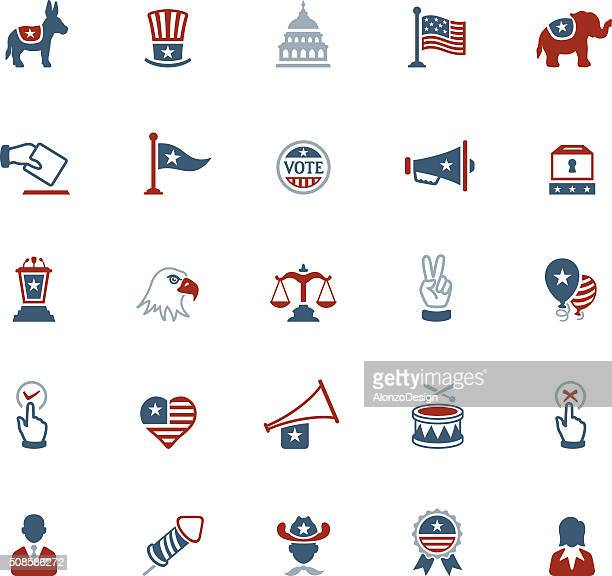stockillustraties, clipart, cartoons en iconen met usa political icons - democratie