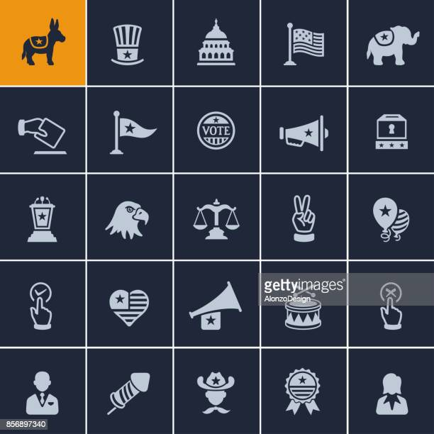 usa political icons - us republican party stock illustrations, clip art, cartoons, & icons