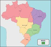 Political Map of Brazil with Names