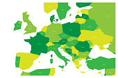 Political map of Central and Southern Europe. Simlified schematic vector map in four shades of green