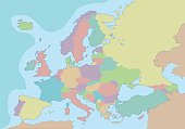 Political map of Europe with different colors for each country.