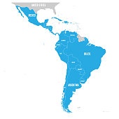 Political map of Latin America. Latin american states blue highlighted in the map of South America, Central America and Caribbean. Vector illustration