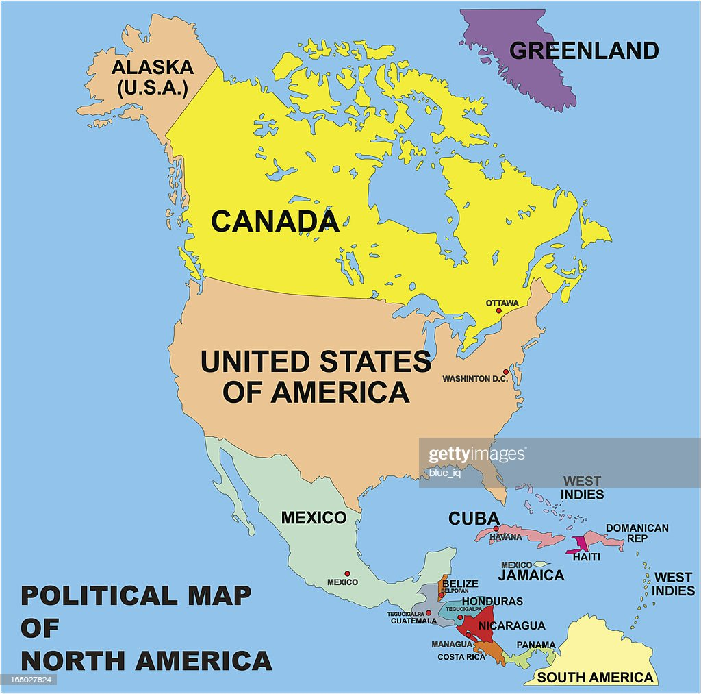 Political Map Of North America In Vector Format Vector Art Getty