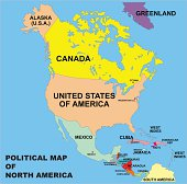 political map of north america in vector format