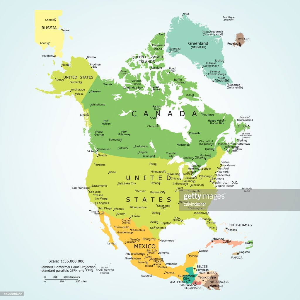 Political Map Of North America stock illustration - Getty Images