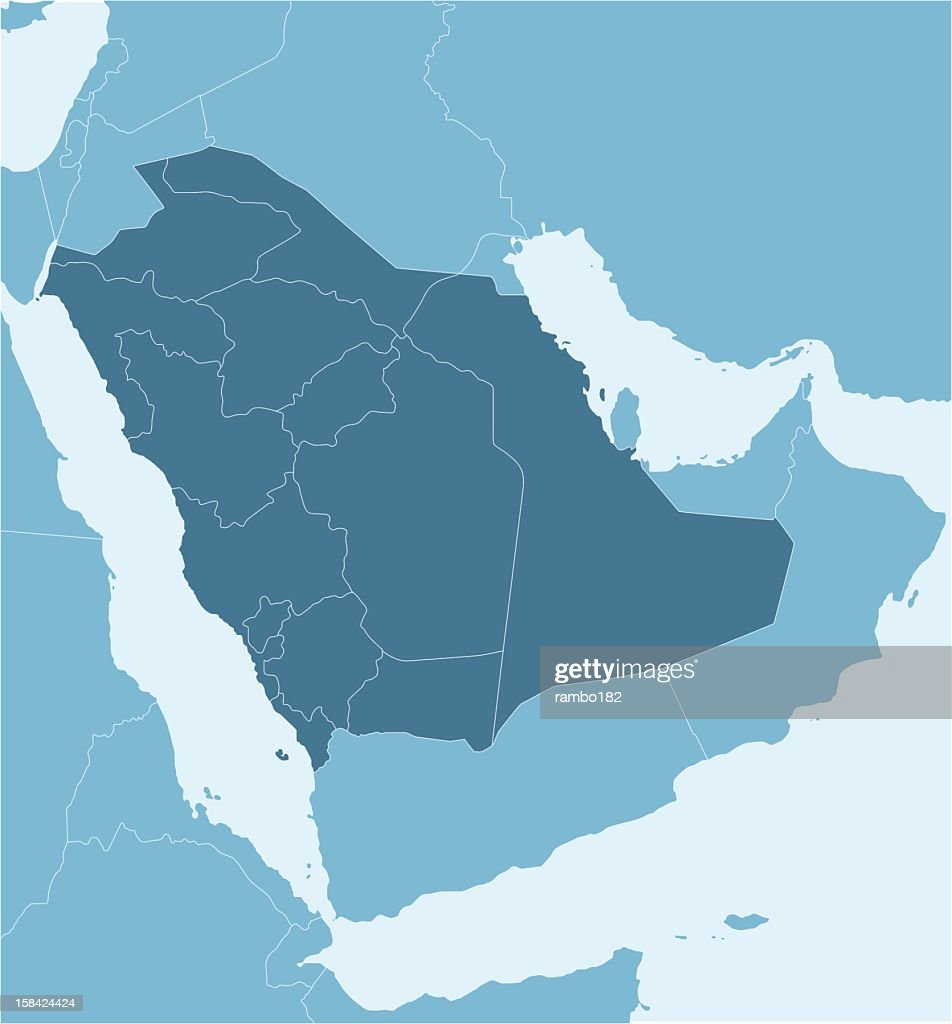 A Political Map Of Saudi Arabia Showing Provinces Vector Art | Getty ...