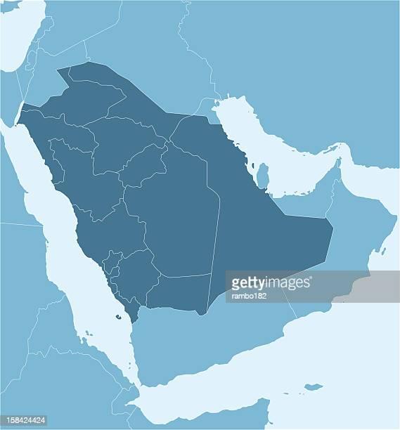 a political map of saudi arabia showing provinces - qatar stock illustrations, clip art, cartoons, & icons