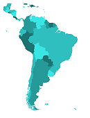 Political map of South America. Simple flat blank vector map in four shades of turquoise blue