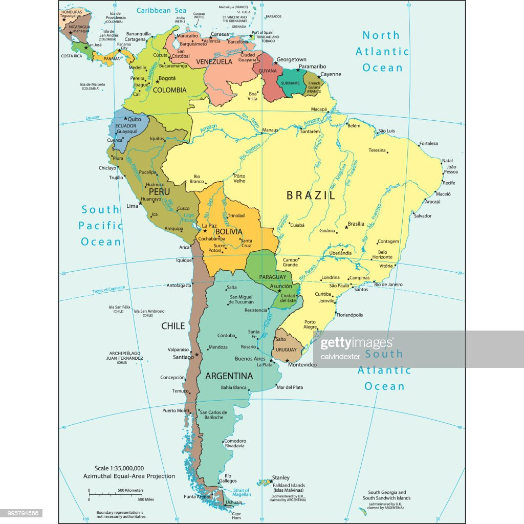 Political map of South America : stock illustration