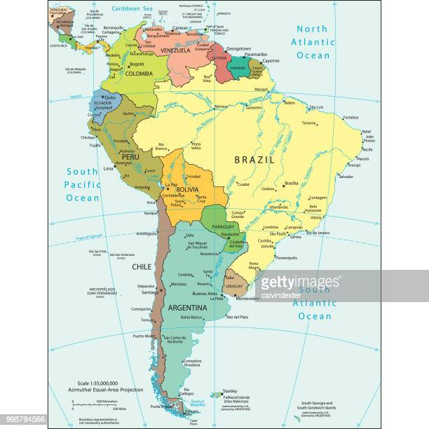 political map of south america - colombia stock illustrations