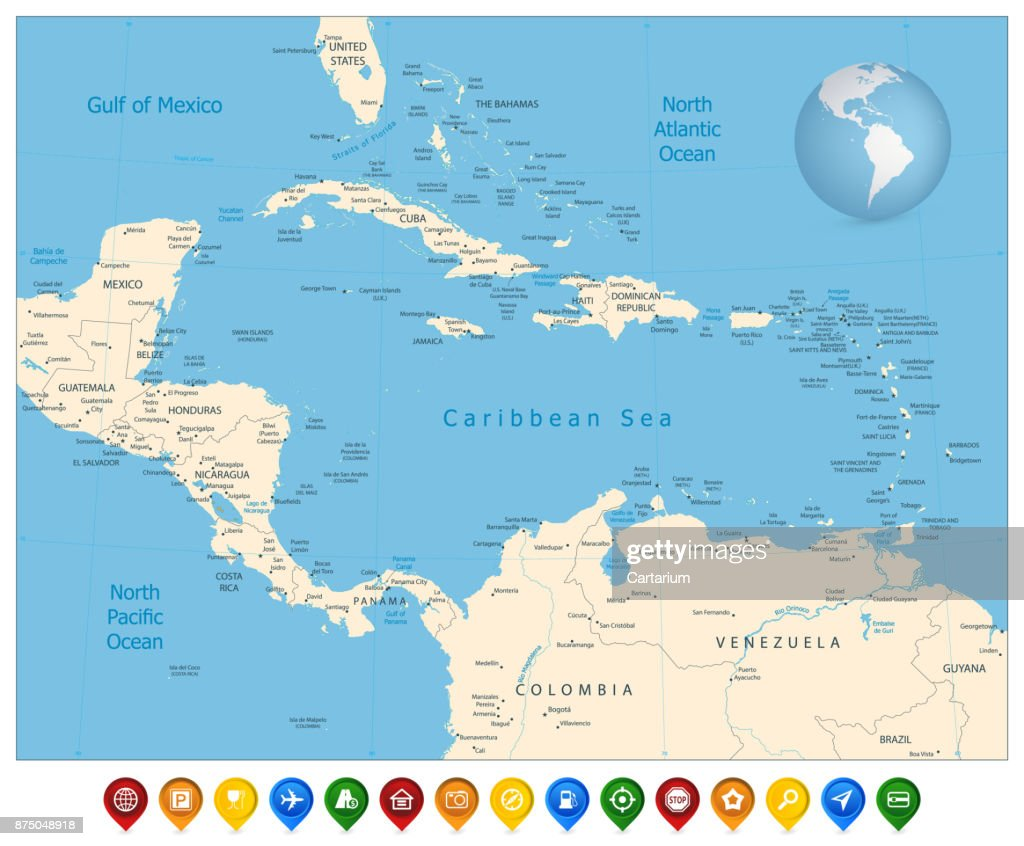 Political Map Of The Caribbean And Colorful Map Markers Vector Art ...