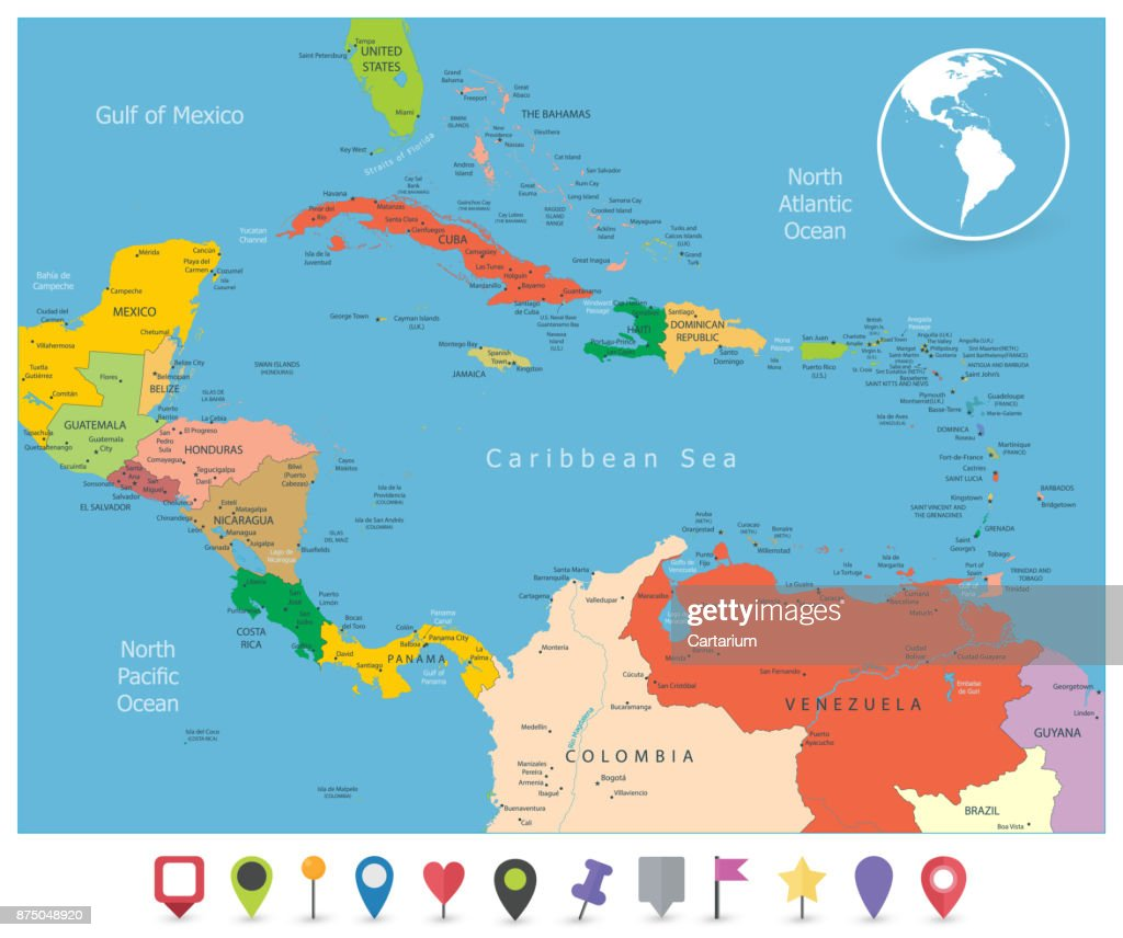 Political Map Of The Caribbean And Flat Icons stock vector - Getty ...