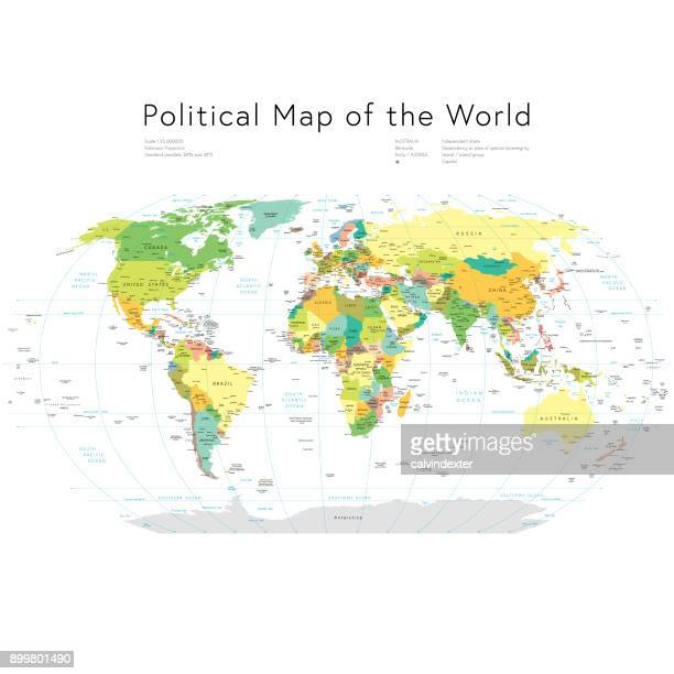 political map of the world - intricacy stock illustrations