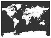 Political map of world. White lands and dark grey seas. Vector illustration