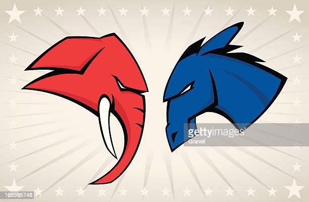political mascots - donkey stock illustrations, clip art, cartoons, & icons