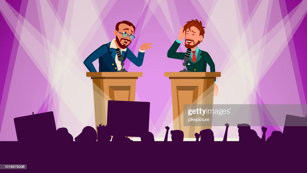 Political Meeting Vector. Discussing Problems. International Conference. Tribune. Big Audience. Pre-election Campaign. Flat Cartoon Illustration