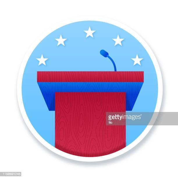political podium - political rally stock illustrations
