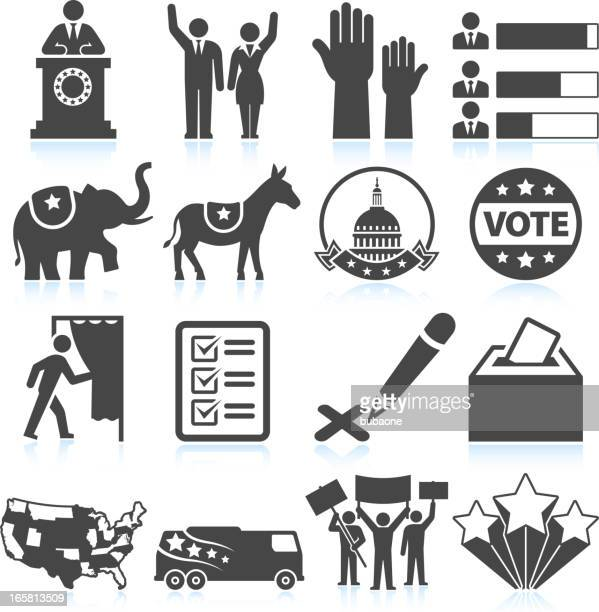 political presidential elections in america black and white icon set - president stock illustrations, clip art, cartoons, & icons