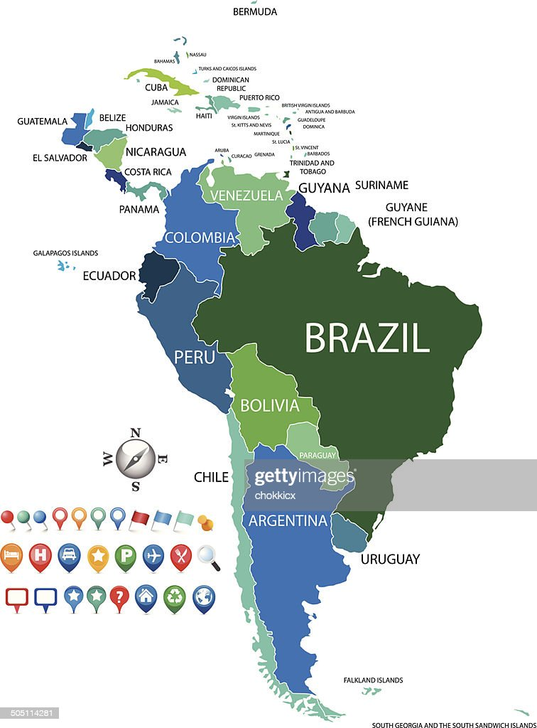 Political South America Map With Gps Icons Vector Art | Getty Images