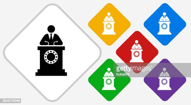 political speech color diamond vector icon - politics and government stock illustrations, clip art, cartoons, & icons