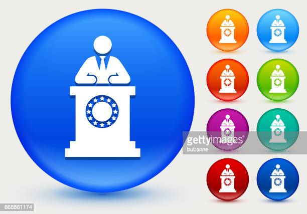 political speech icon on shiny color circle buttons - politics and government stock illustrations, clip art, cartoons, & icons