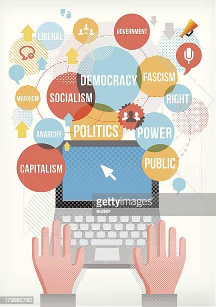ilustraciones, imágenes clip art, dibujos animados e iconos de stock de términos políticos en computadora portátil - socialismo