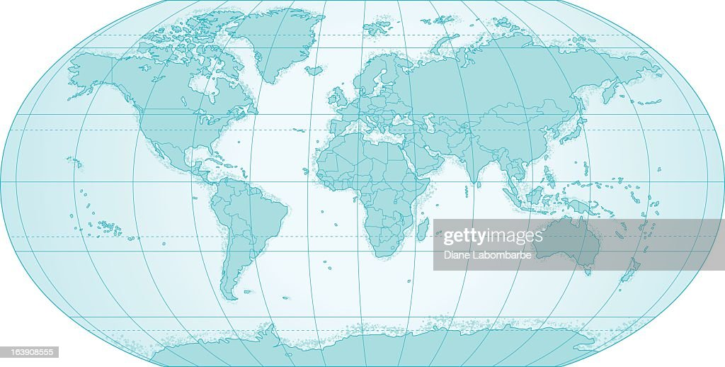 Political World Map In Blue With Latitude And Latitude Lines - Latitude lines map