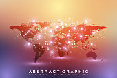 Political World Map with global technology networking concept. Digital data visualization. Scientific cybernetic particle compounds. Big Data background communication. Vector illustration