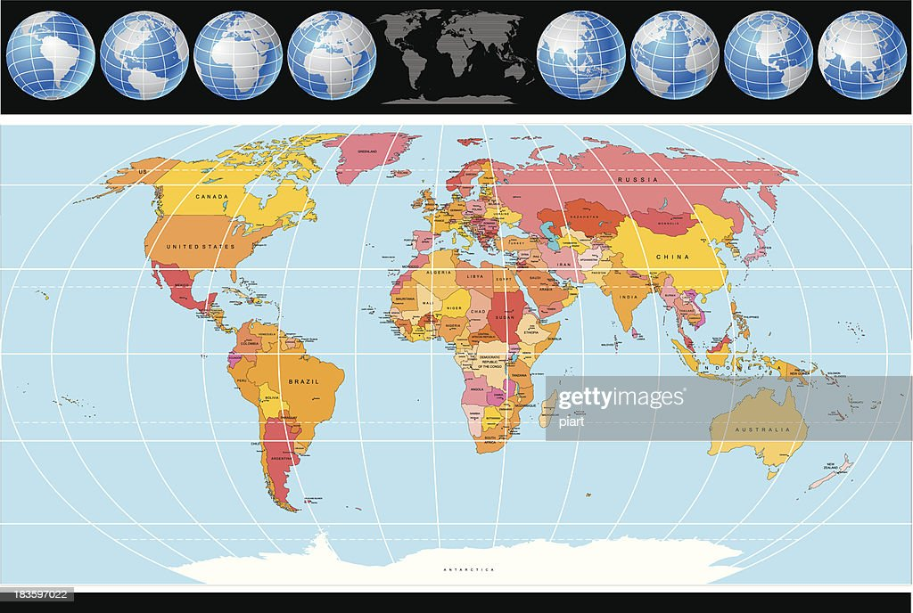 Political World Map with Globes. Vector Image