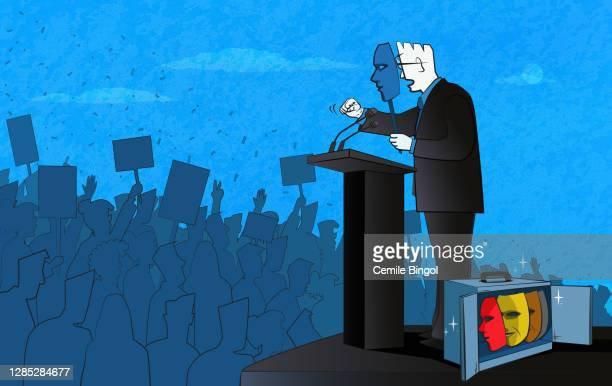 politician and masks - corruption stock illustrations