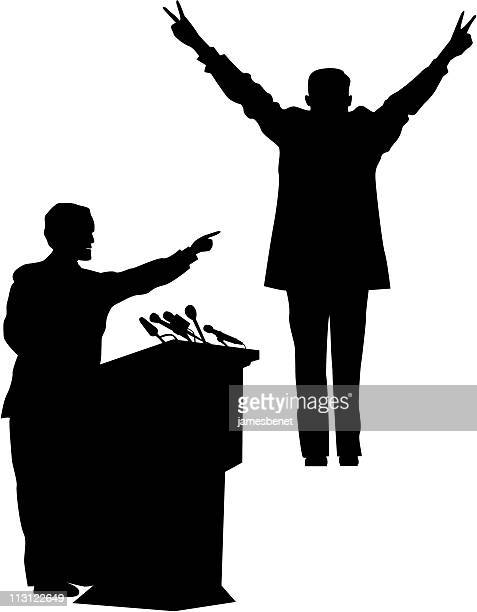politician silhouettes (vector) - political rally stock illustrations, clip art, cartoons, & icons