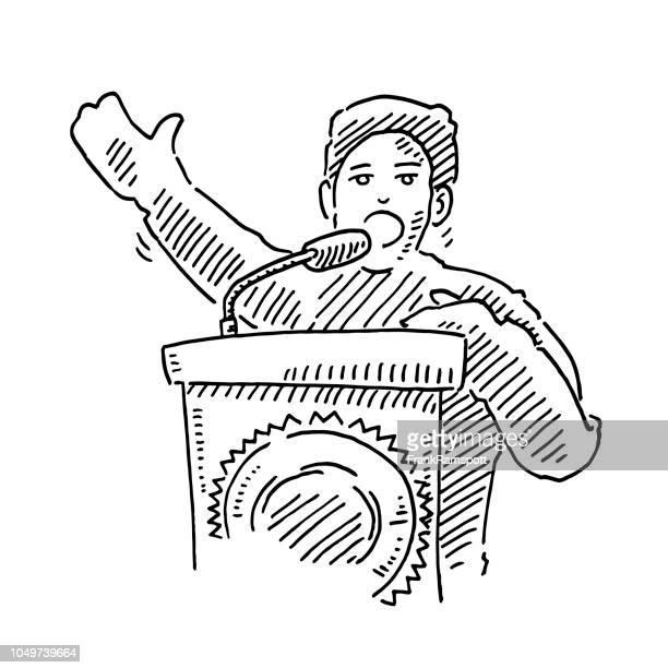Politiker-Rede-Podium-Zeichnung