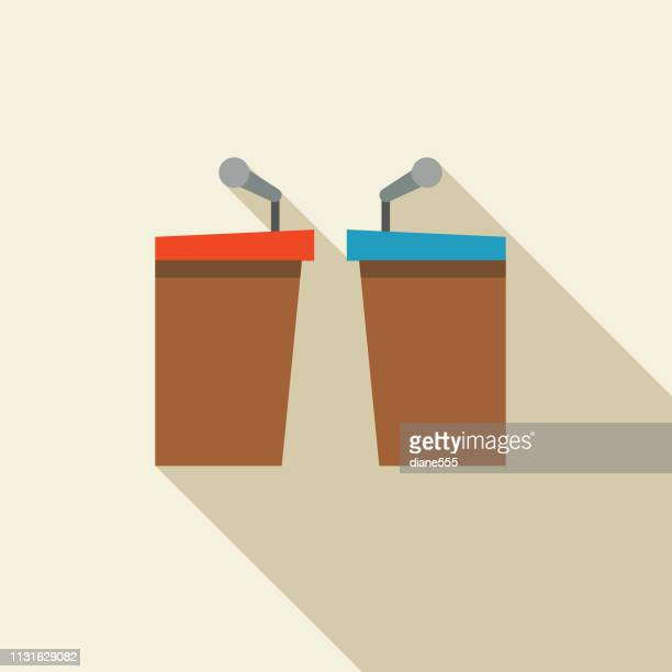 politics and election flat design icon debate podiums - presidential election stock illustrations