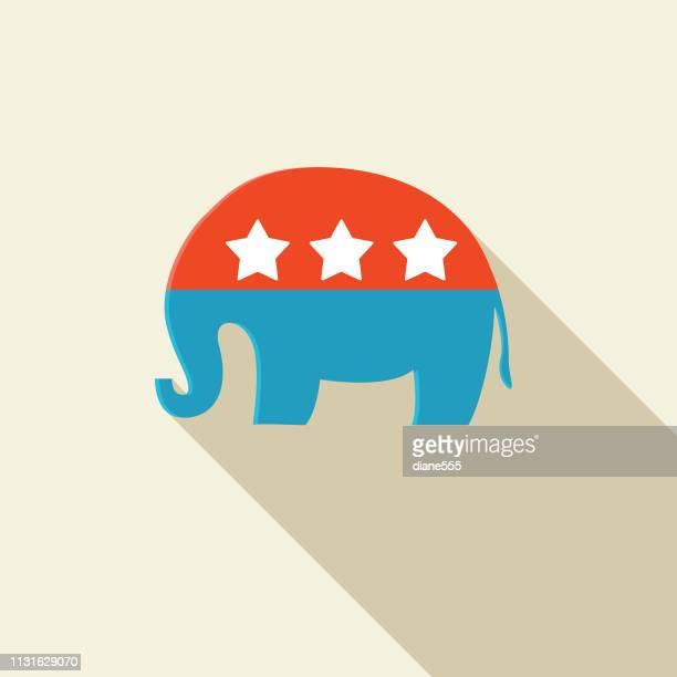 politics and election flat design icon  republican elephant symbol - us republican party stock illustrations