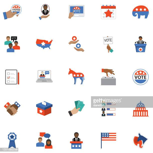politics and election flat design icon set - president stock illustrations