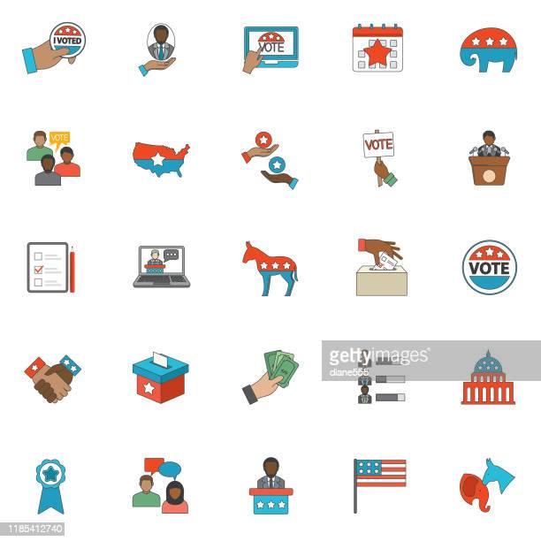 politik und wahlikonen dünne linie - politische partei stock-grafiken, -clipart, -cartoons und -symbole